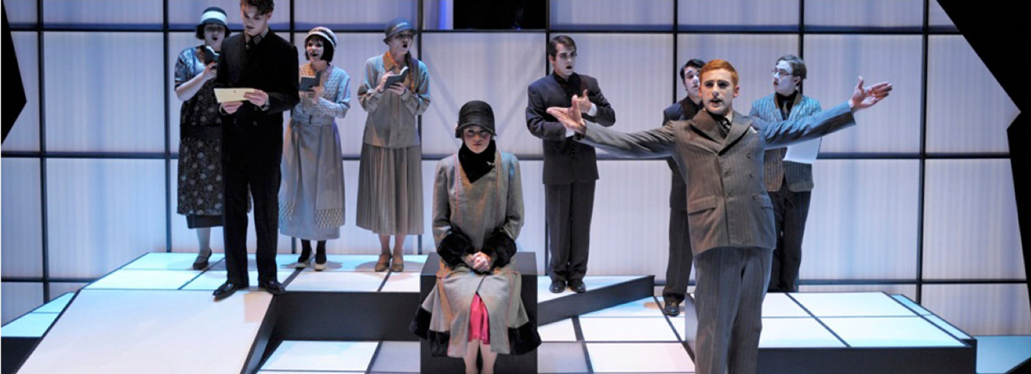Students in the 2012 theater production of Machinal on stage