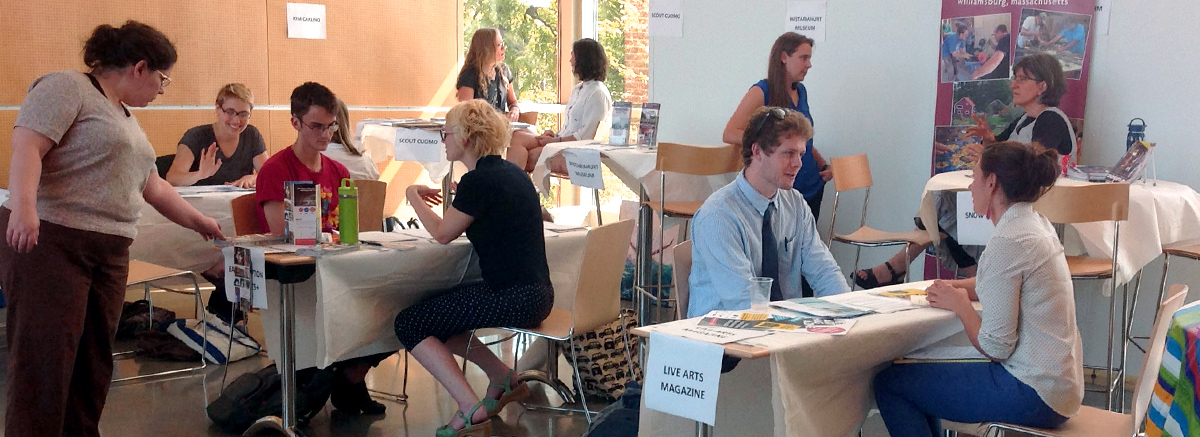 Students attending an internship fair