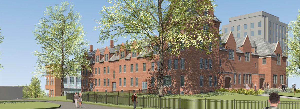 Artists rendering of the West side of South College