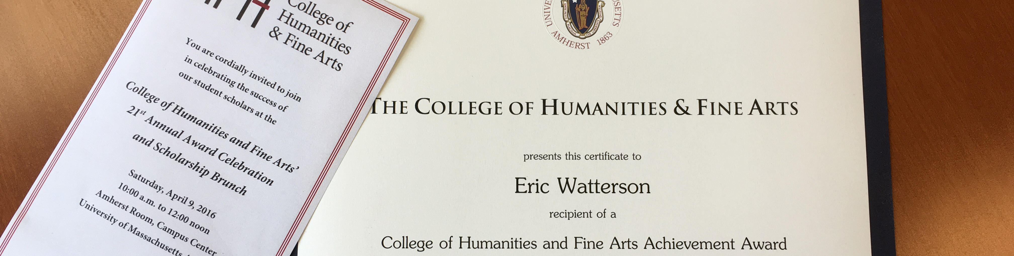Top half of a certificate awarded by the College of Humanities and Fine Arts