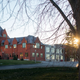 Sun setting behind South College