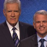 Associate Dean Joe Bartolomeo is pictured with Alex Trebek, host of Jeopardy!