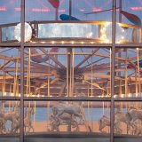 View of carousel from outside the Studio Arts Building