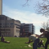 the UMass Department of Dance performs on campus outdoors