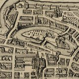 detail from an ancient map of a city.