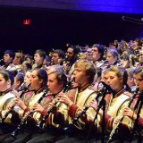 Tim Anderson directs the UMass Marching Band in concert