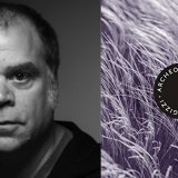 Composite image of the author on the left and a book cover on the right
