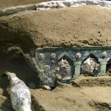 """A well-preserved chariot discovered in Pompeii has been described as an """"extraordinary find"""" and has iron wheels, bronze and tin decorations and mineralized wood."""