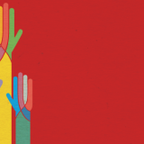 a group of artistically rendered multicolored hands on a red background