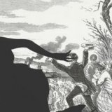 detail from a piece by Kara Walker depicting the sihouette of a running woman with an angry mob in the background