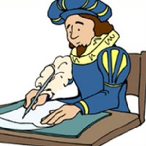 Cartoon image of a man writing a sonnet