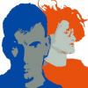 stylized graphic in blue and orage of two young people, one clean cut, one with wild hair.