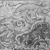 woodcut print of an ancient sea serpent.