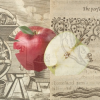 a sliced apple against a medieval tapestery background