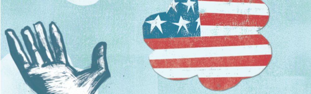 detail of a blue poster with a hand and an American flag in a cloud