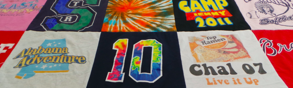 A quilt made of old T-shirts