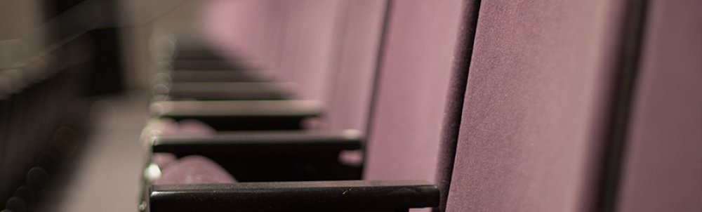 Close up of seats in the Rand Theater on the UMass Amherst Campus.