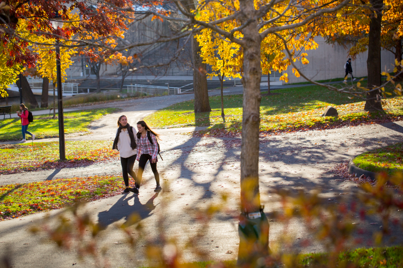 Students walk across campus in the autumn