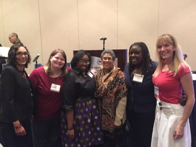 Professors Barbara Krauthamer and Joye Bowman with Ph.D. students Destiney Linker, Camesha Scruggs, Felicia Jamison, and Joie Campbell at the Association for the Study of African American Life and History Annual Meeting in 2015.