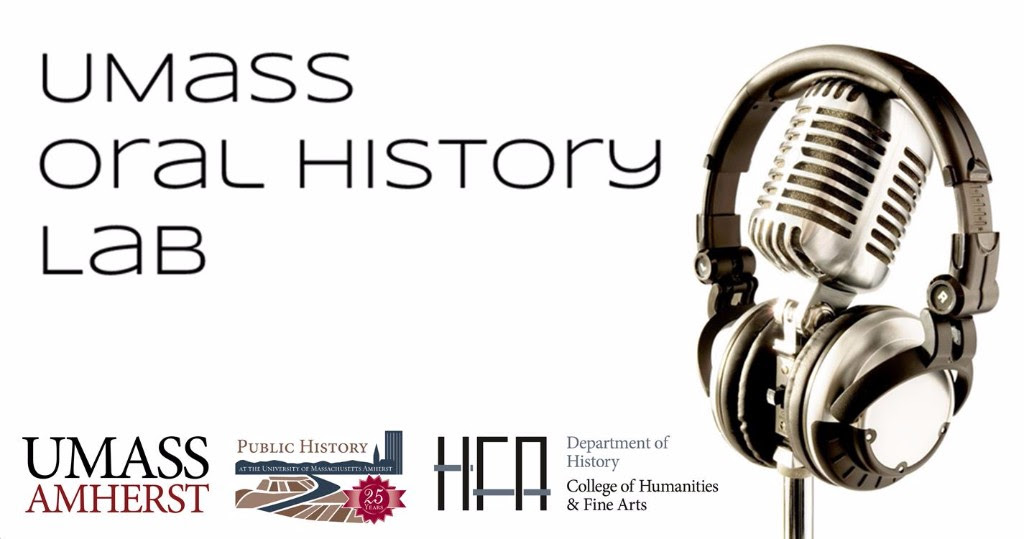 UMass Oral History lab logo - a microphone with a set of headphones around it
