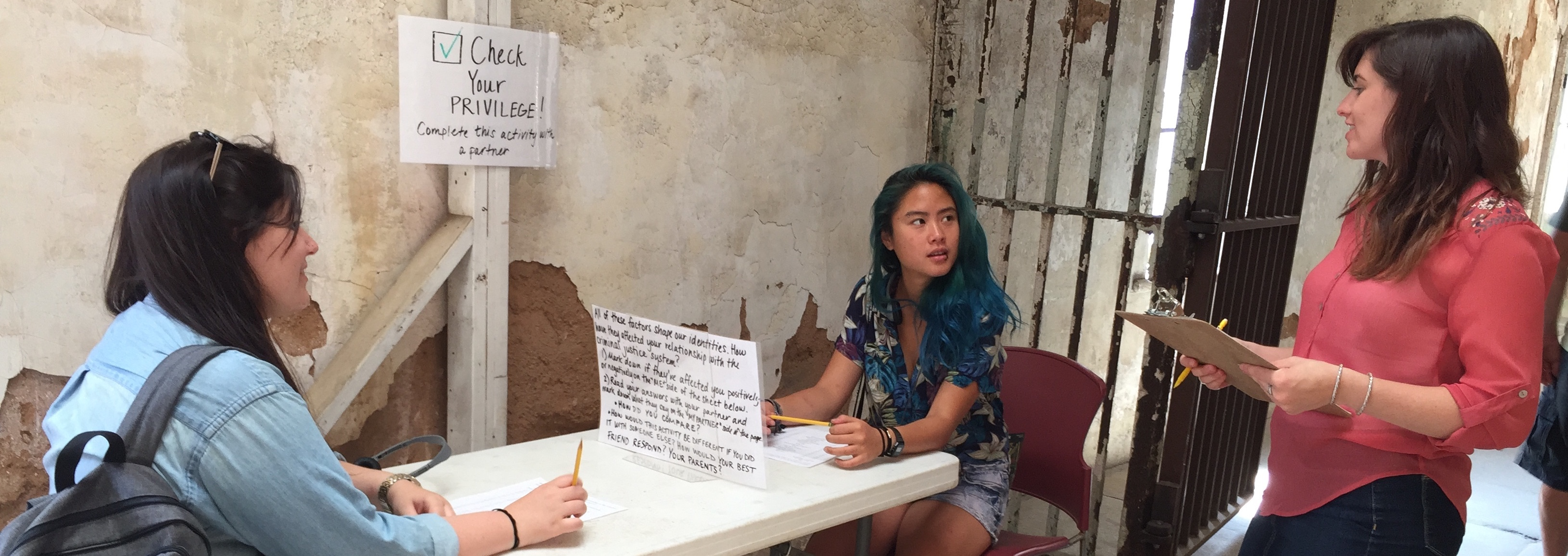 Student leading a program at Eastern State Penitentiary