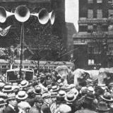 "Crowd outside the 1924 Republican National Convention in Cleveland listen to speeches broadcast from inside the hall via an early ""public address system."" (From a 1924 issue of Popular Radio magazine) Obtained from Belt Magazine."