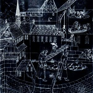 Medieval etching - black paper white lines - of monks working