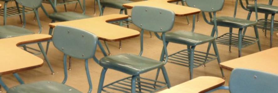 Picture of rows of school desks