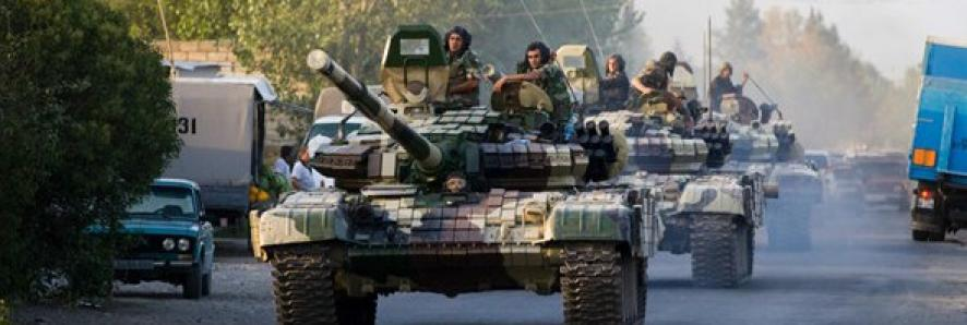 Azerbaijan tanks in a street