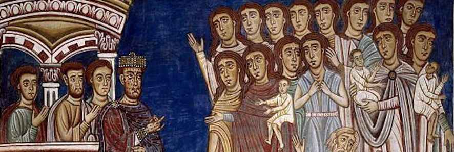 Medieval illumination representing a crowd facing a small group of officials
