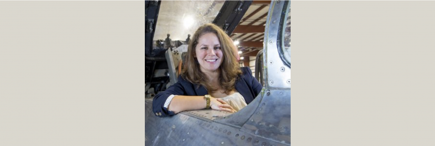 Amanda Goodheart Parks in an old plane