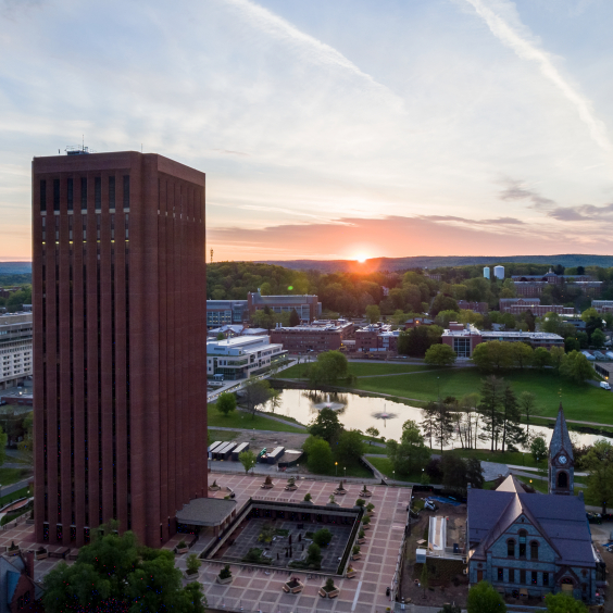UMass Campus Aerial Photo of Library and Chapel