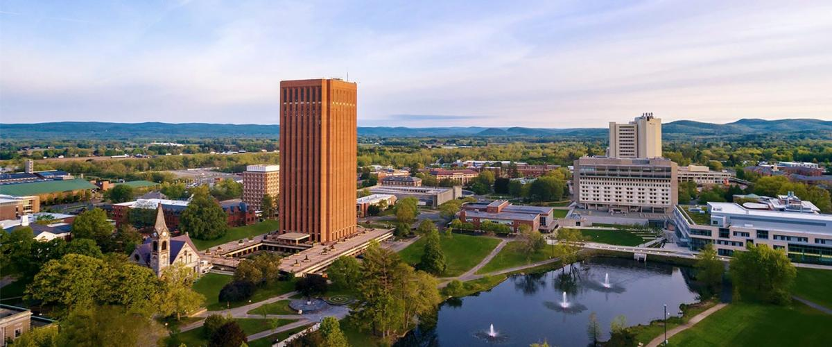 UMass Amherst aerial view of campus