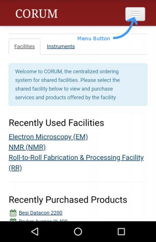 CORUM mobile screenshot with menu closed