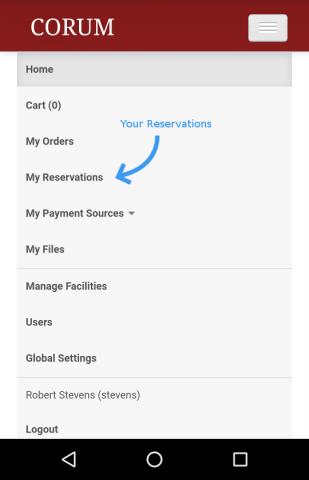 CORUM mobile screenshot with menu open