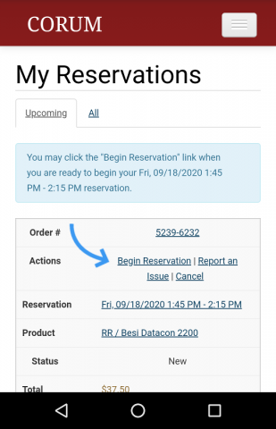 CORUM mobile screenshot with reservation