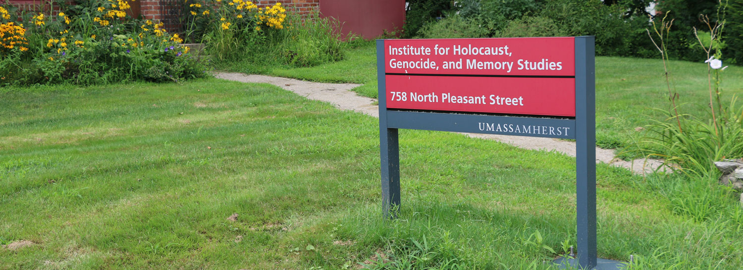 Sign outside of the Institute for Holocaust, Genocide, and Memory Studies