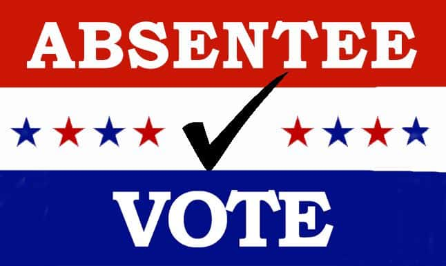 """A logo saying """"absentee vote"""""""