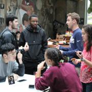 Students at a coffee hour event