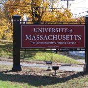 A sign at UMass Amherst
