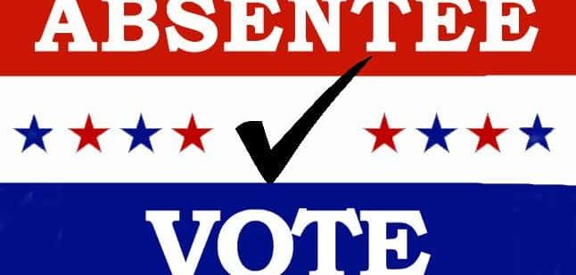 "A logo saying ""absentee vote"""