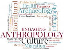 Logo of Engaging Anthropology conference: Wordcloud of Anthropological terms