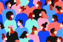 Flaticon art image of mutlicultural crowd of people wearing facemasks