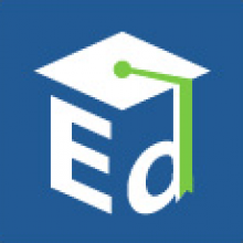 """Logo of the US Government Department of Education, blue background with white graduation cap over white letters """"Ed"""""""