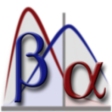 G*Power Icon graphic of two overlapping data distributions, blue labeled Beta and red labeled Alpha