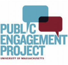 Public Engagement Project at UMass Amherst logo, blue text white background