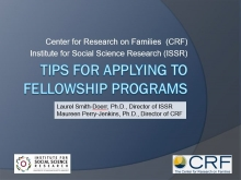 ISSR and CRF Scholar Application Strategies