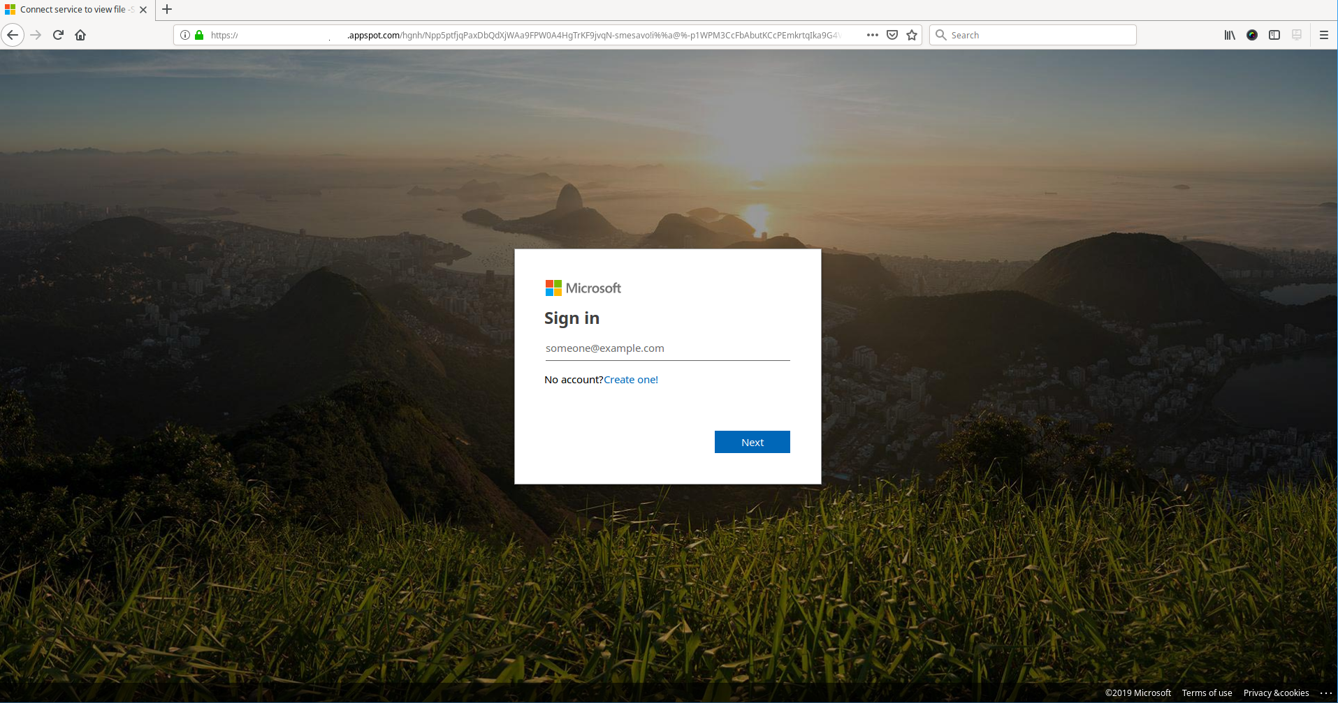 Fake Microsoft login page with a .appSpot.com url