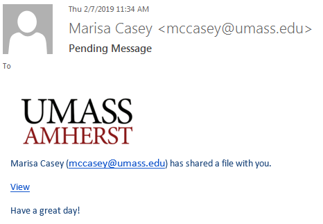 Phishing message appearing to be sent by mccasey@umass.edu