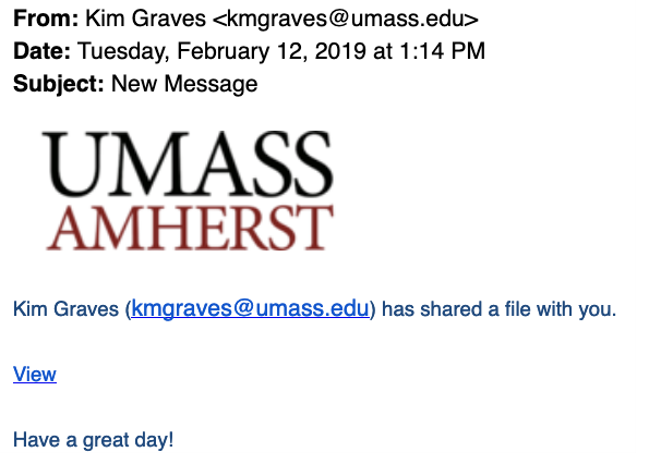Phishing message appearing to be sent by kmgraves@umass.edu